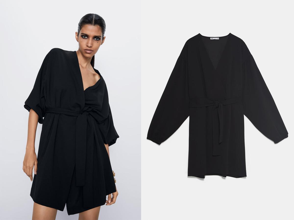 Czarna sukienka kimonowa Zara