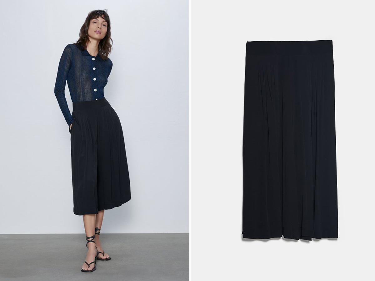 czarne plisowane culottes Zara