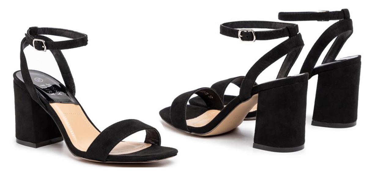 Czarne sandały na obcasie CCC