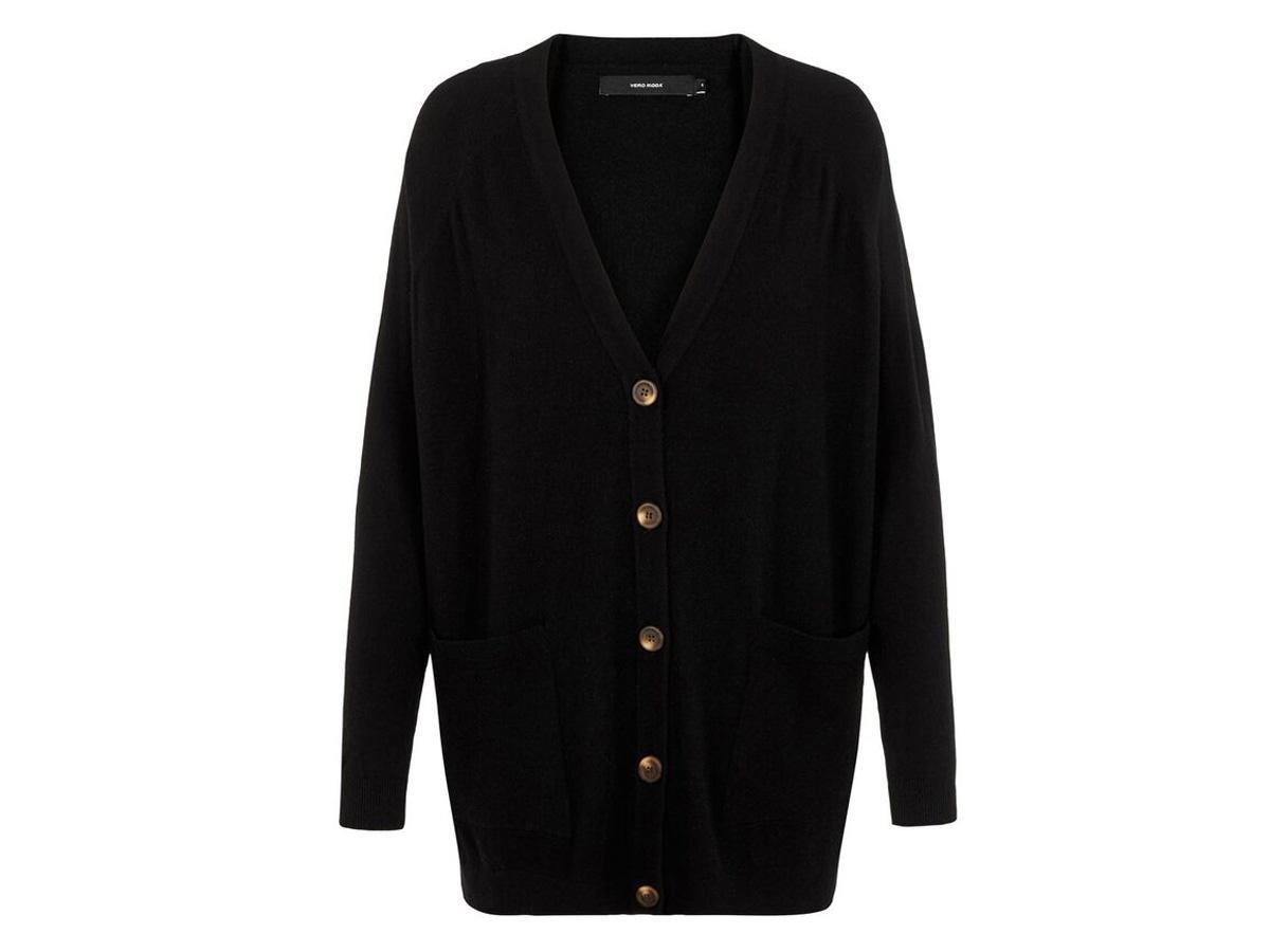 Czarny rozpinany sweter oversize Vero Moda