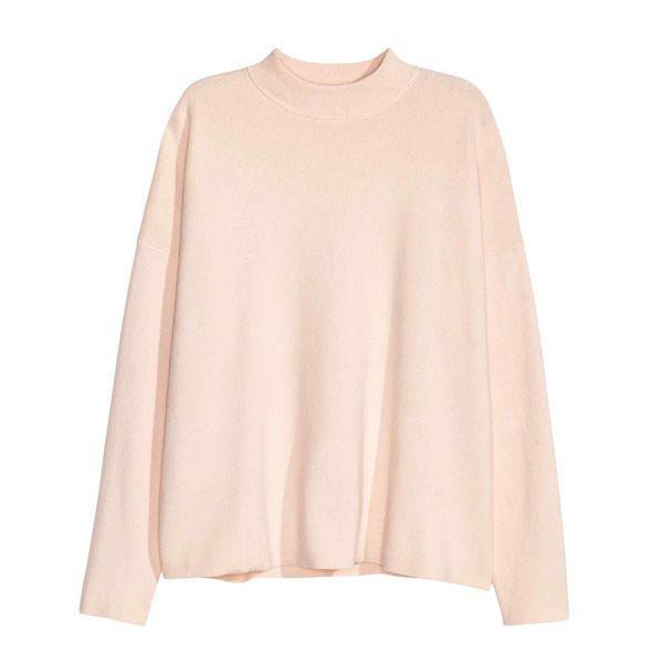 Pudrowo różowy sweter H&M, cena