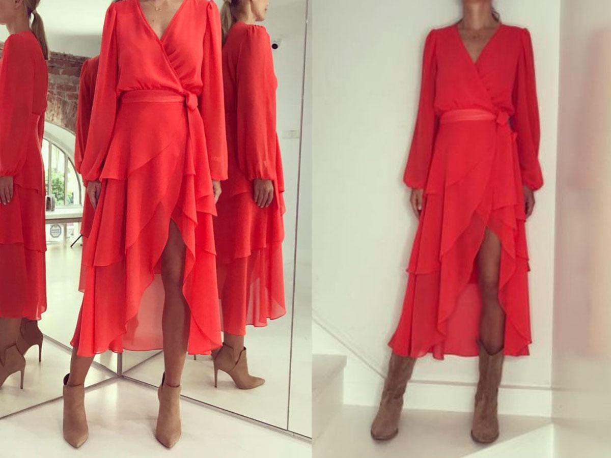 Czerwona kopertowa sukienka Kasi Cichopek marka i cena