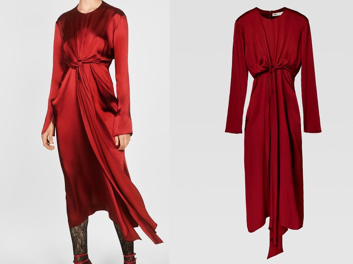 Czerwona satynowa sukienka Zara