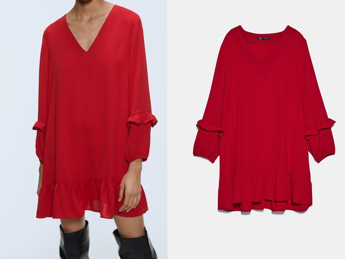Czerwona sukienka z dekoltem V Zara