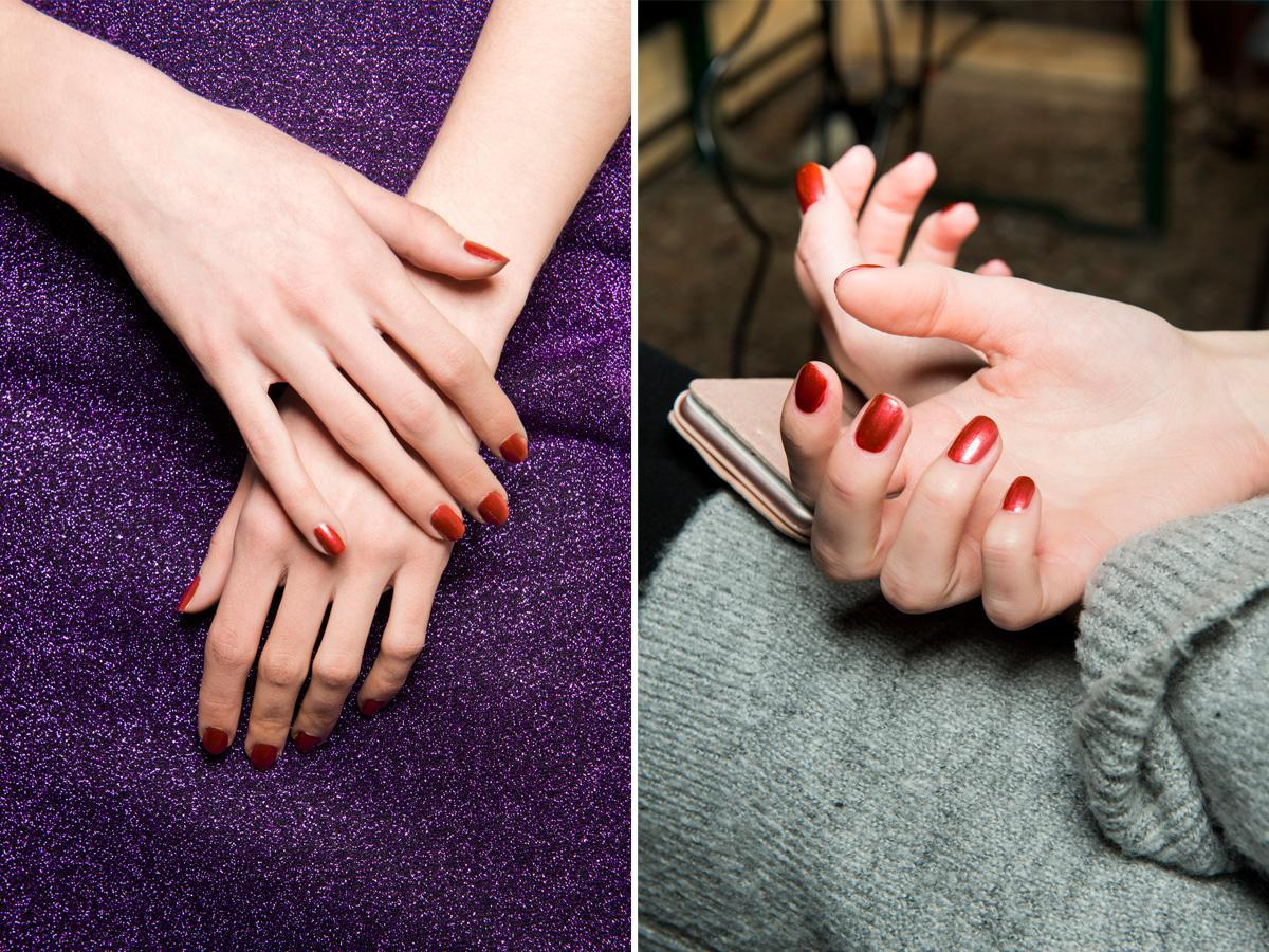 Czerwone paznokcie metaliczne