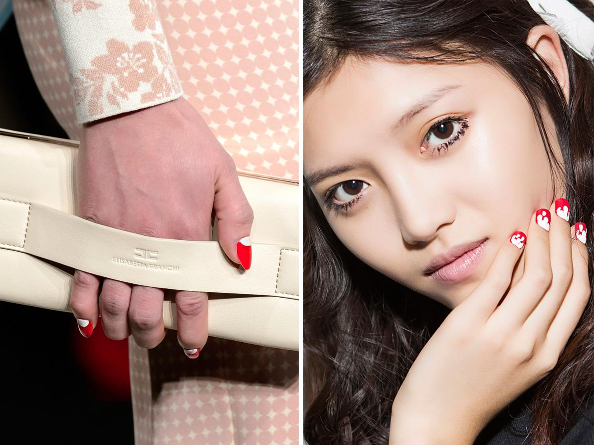 Czerwone paznokcie z bielą