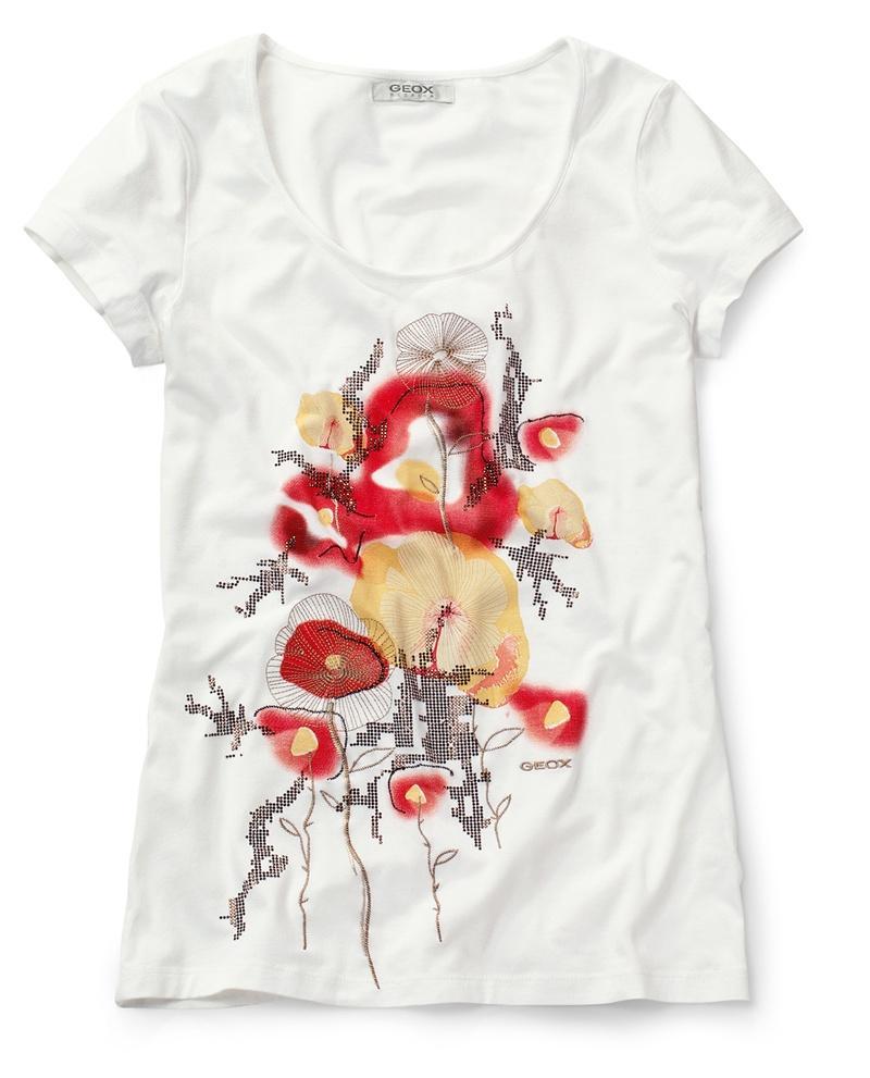 biały t-shirt Geox z nadrukiem - trendy wiosna-lato