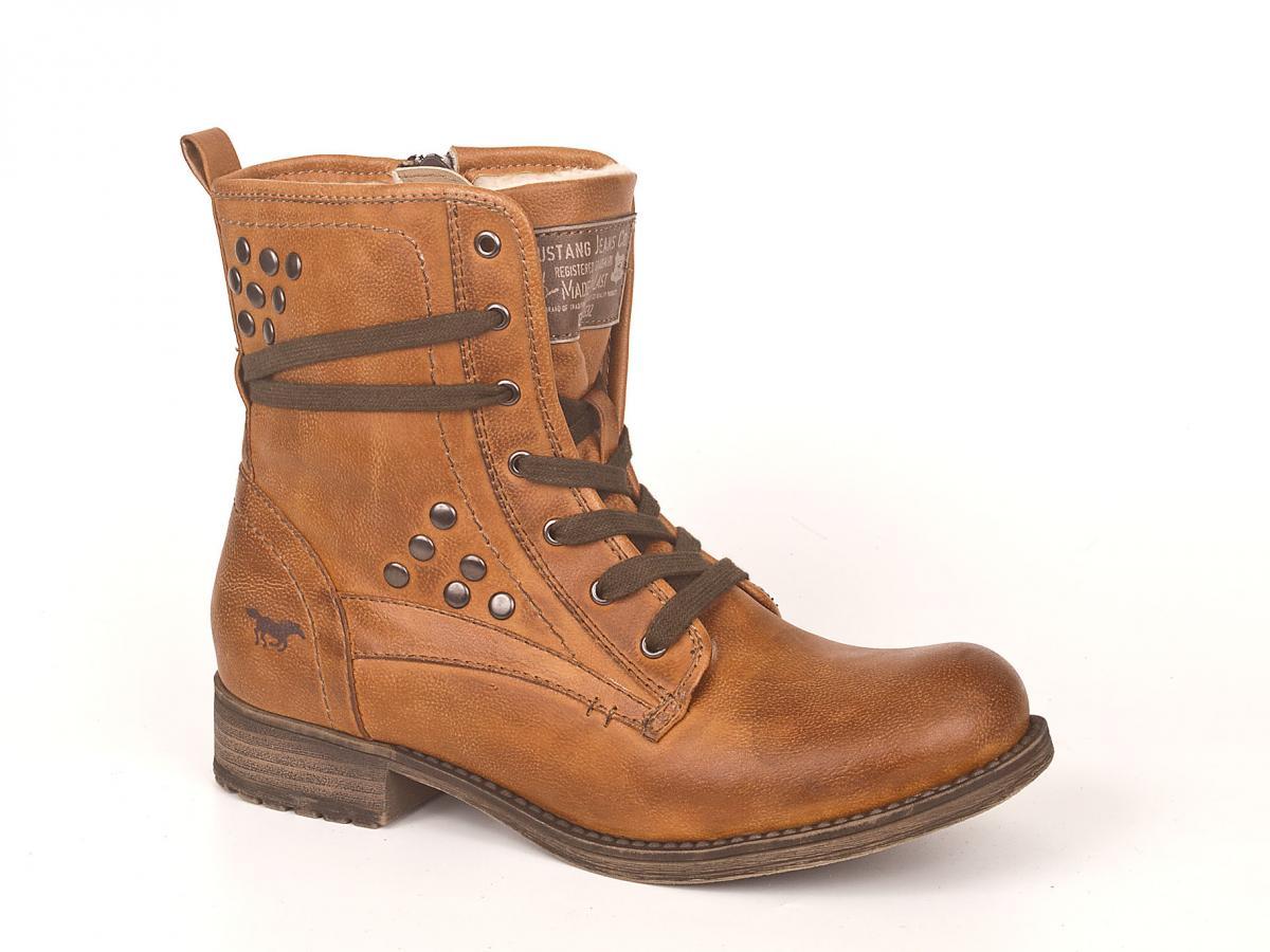 skórzane botki Mustang w kolorze brązowym - buty na zimę 2013/14