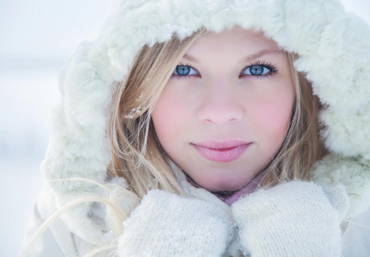 oko, oczy, twarz, nos, włosy, zima, cera, skóra, kobieta, mróz, śnieg