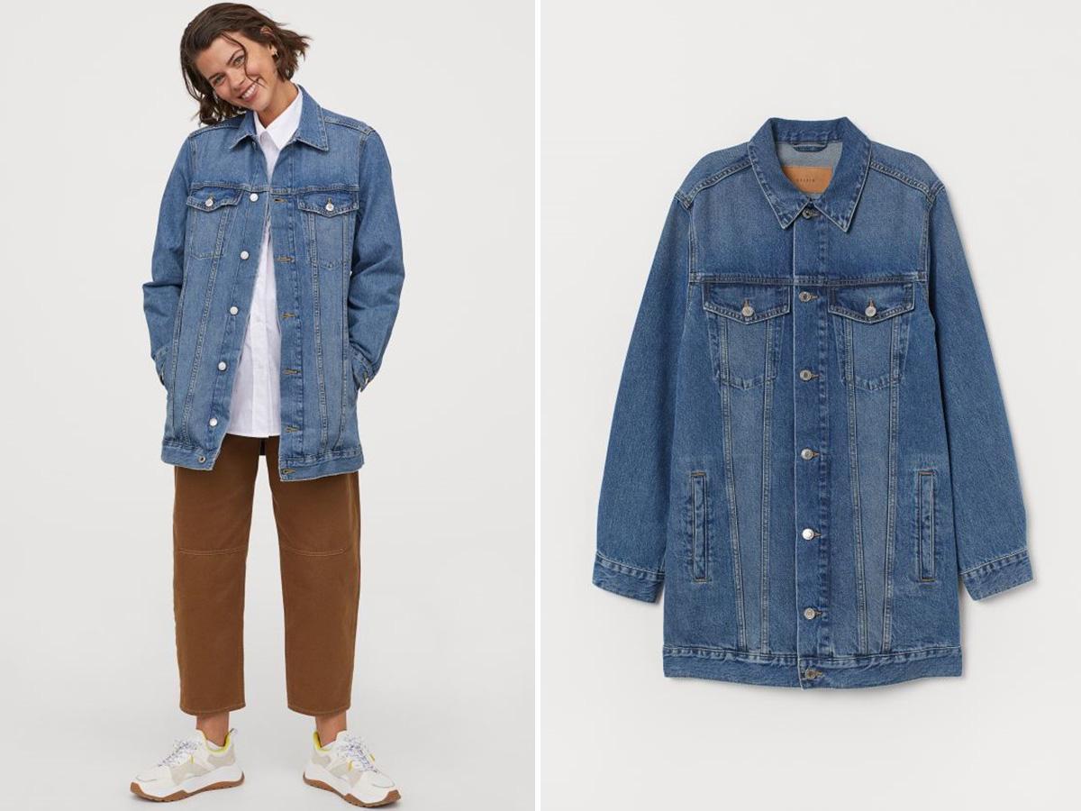 długa kurtka jeansowa H&M