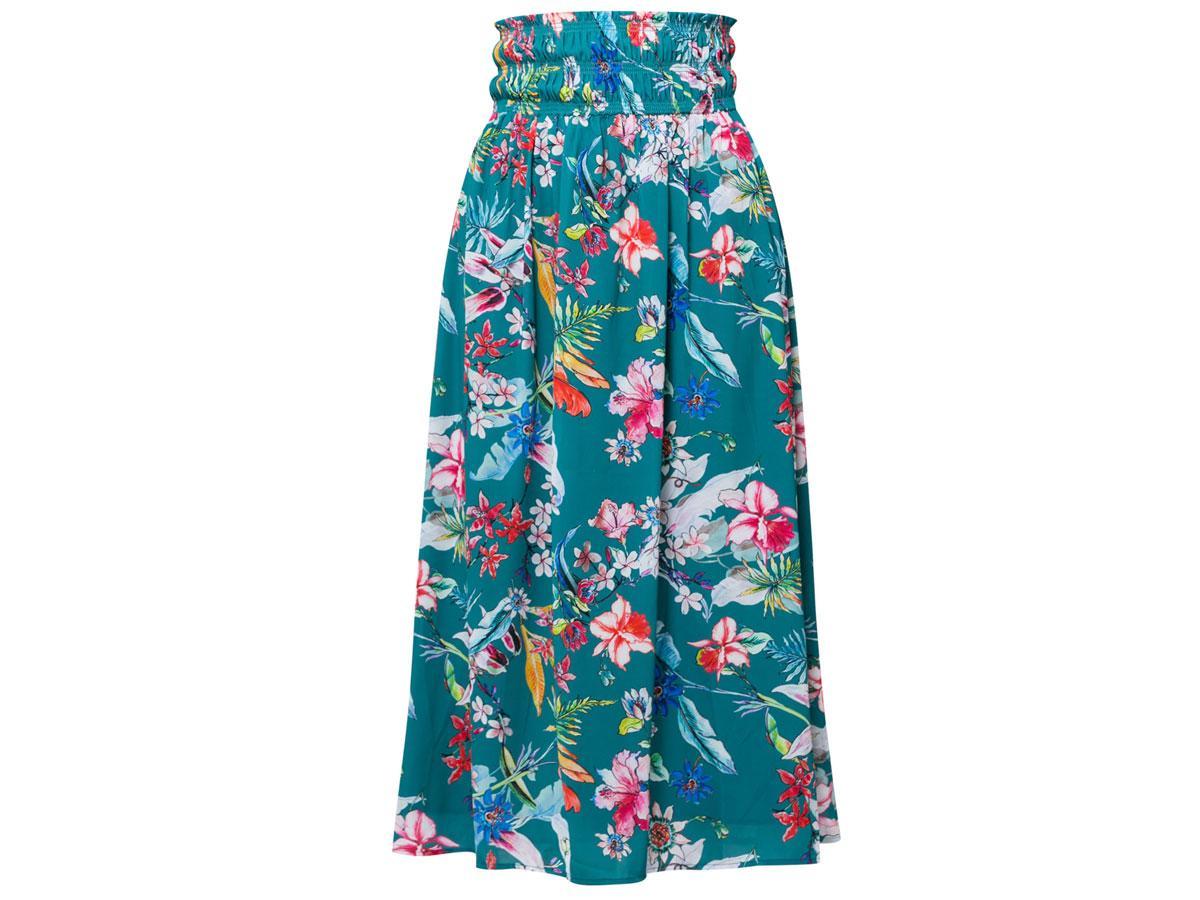 Długa spódnica w tropikalny print Monnari