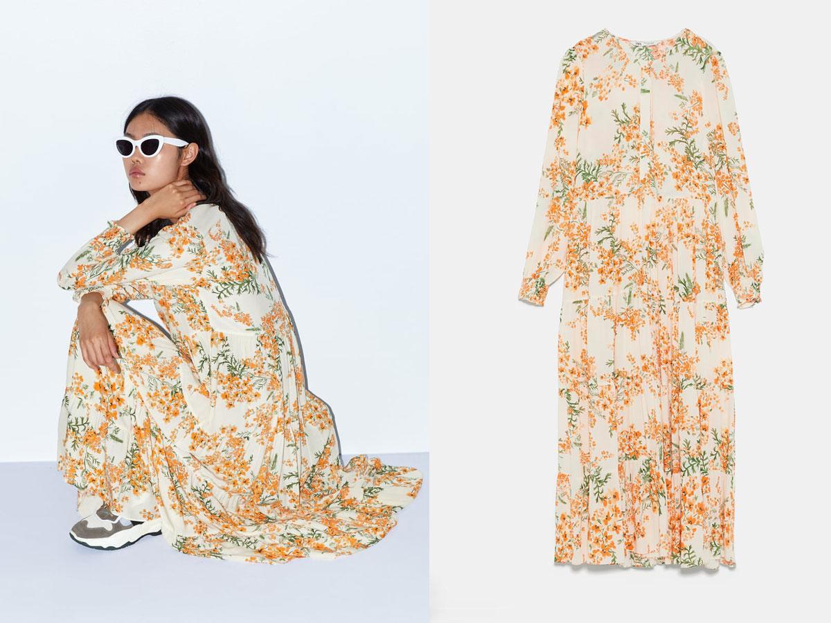 Długa sukienka w kwiaty Zara