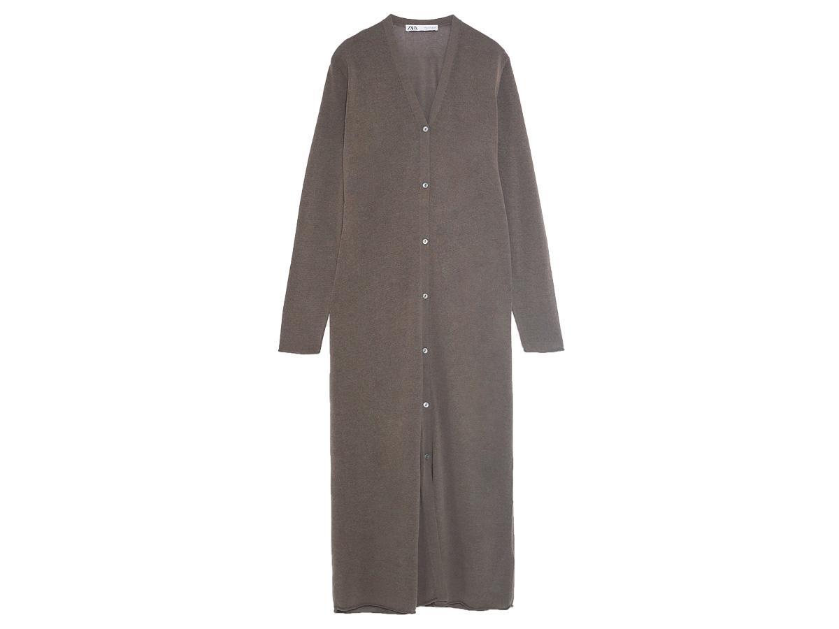 Długi sweter rozpinany Zara