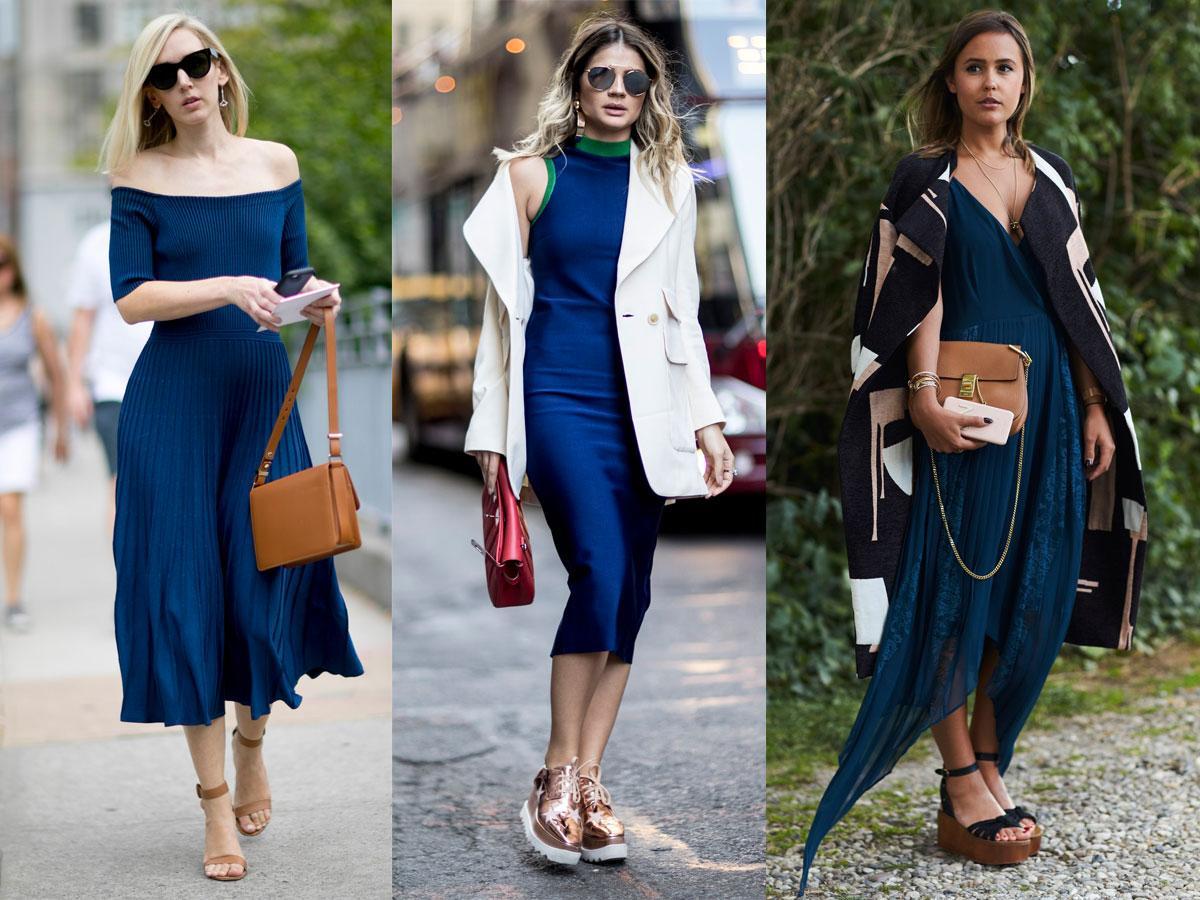 Znalezione obrazy dla zapytania jaki kolor butów do granatowej sukienki