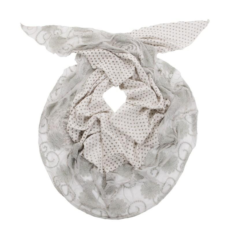 biały szalik s.Oliver we wzory - kolekcja zimowa