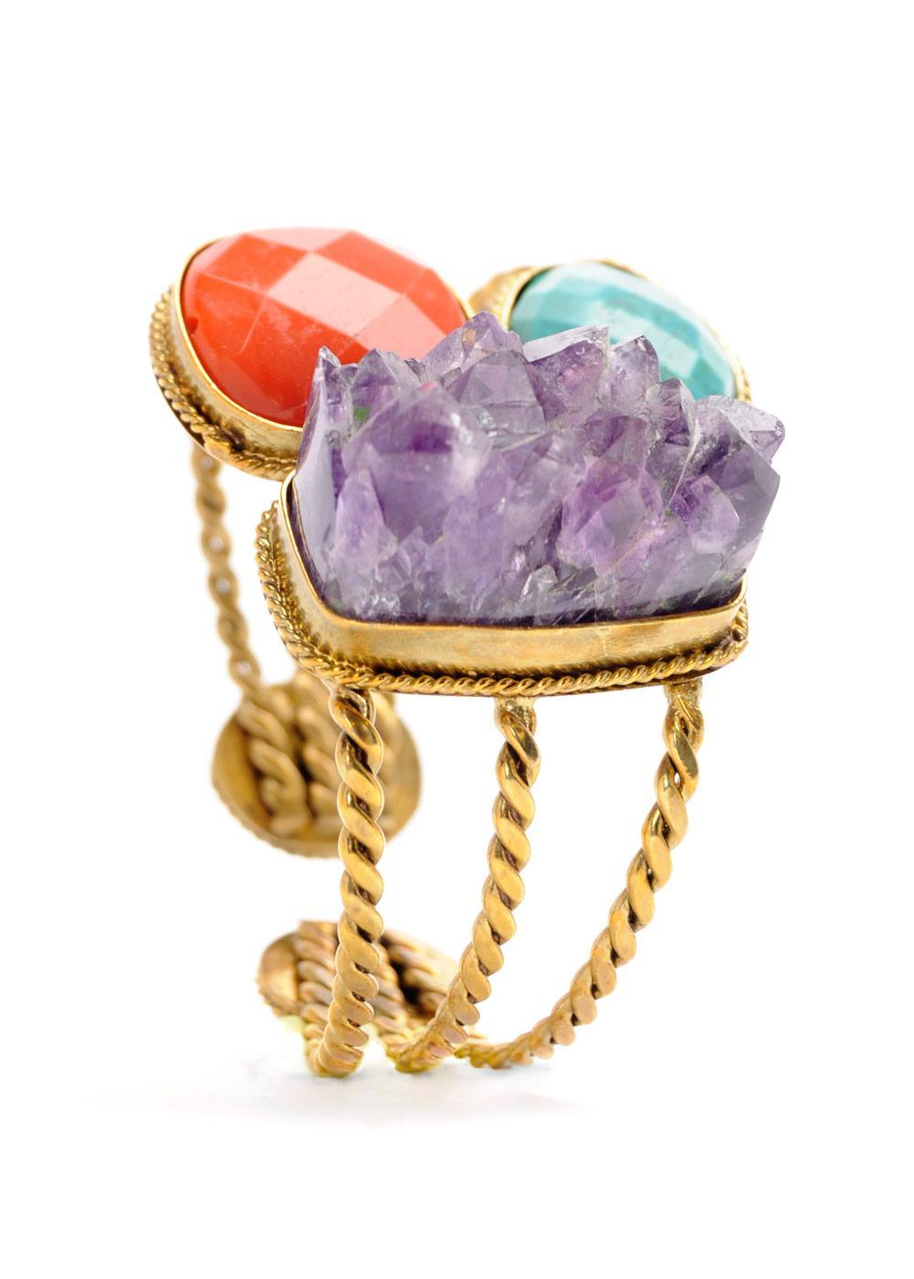 złota bransoletka z kamieniami Mango - wiosna/lato 2011