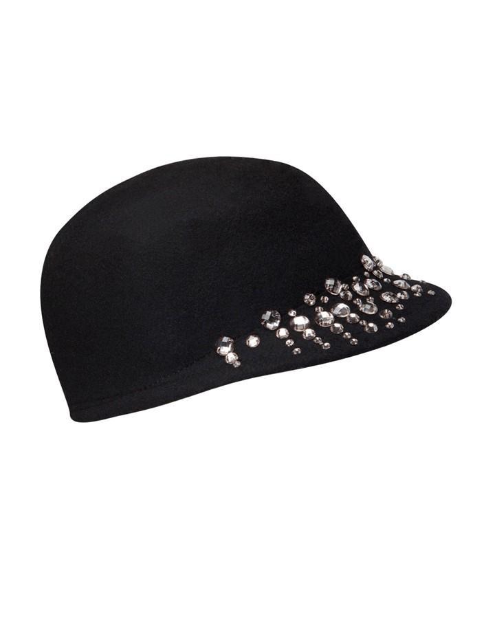 kapelusz Stradivarius z kamyczkami w kolorze czarnym - modne dodatki na jesień i zimę