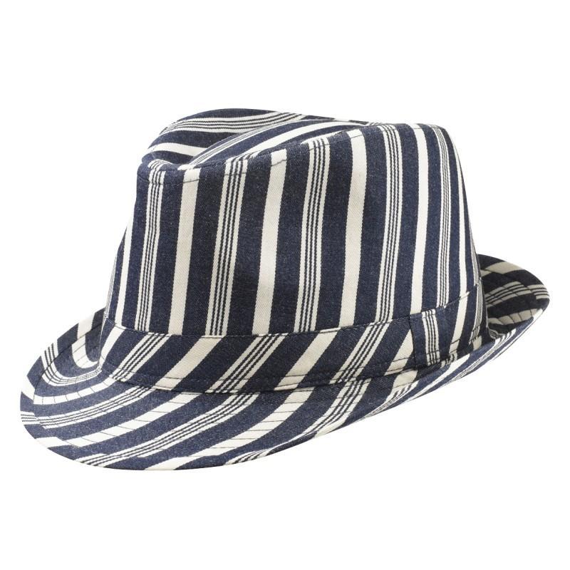granatowy kapelusz Jackpot w paski - moda wiosna/lato