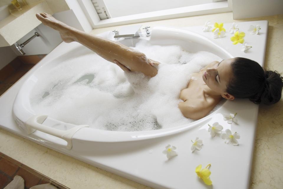 kobieta, wanna, kąpiel, SPA