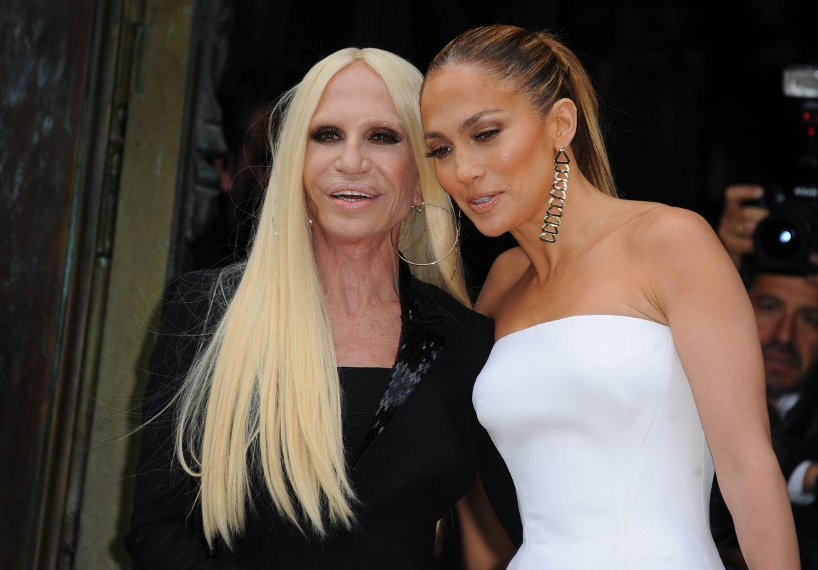 Pokaz Atelier Versace jesień 2014 - Donatella Versace i Jennifer Lopez