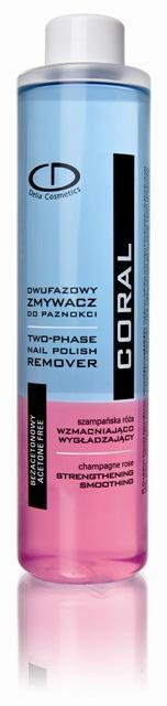 Dwufazowy zmywacz bezacetonowy wzmacniająco-wygładzający Coral, Delia Cosmetics, 8.30 zł/220 ml