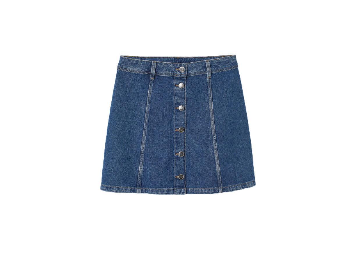 Dżinsowa spódnica mini, H&M, cena ok. 79,99 zł