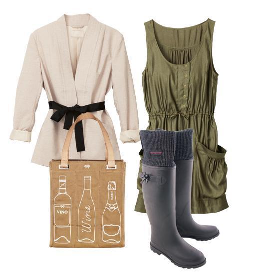 torba, kalosze, sukienka