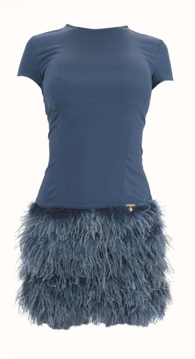 niebieska sukienka Elisabetta Franchi Celyn b - wiosna/lato 2011