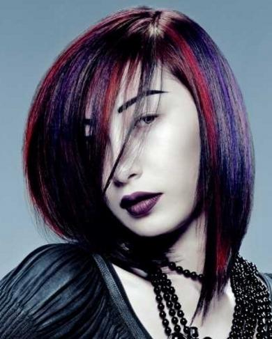 Fioletowe włosy - fryzury