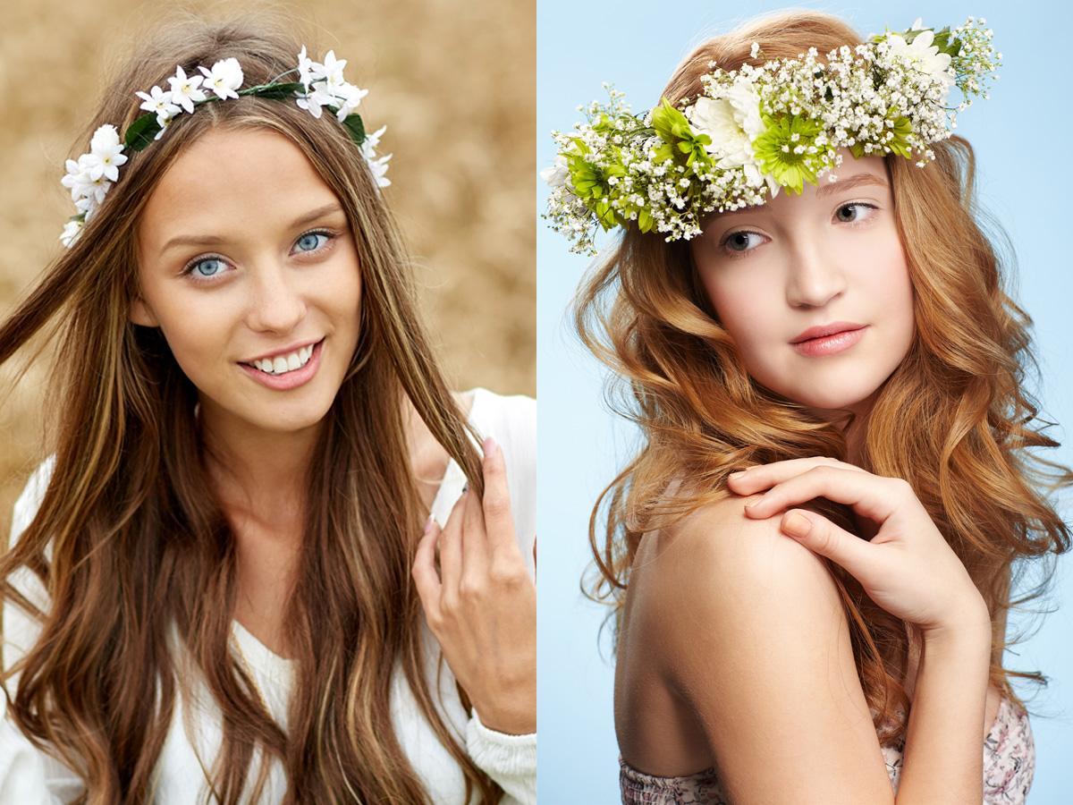 fryzury z wiankiem z kwiatów