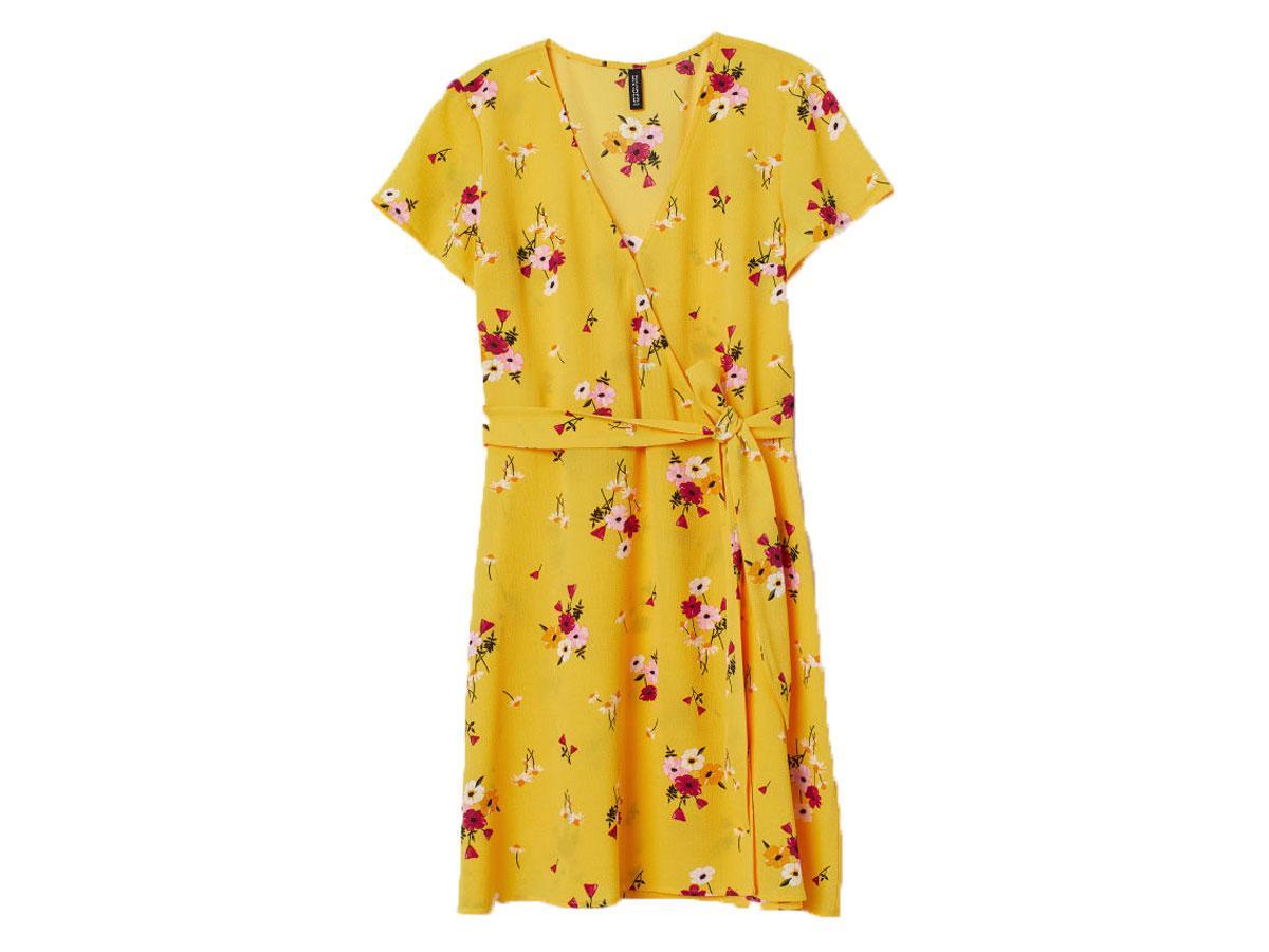 Żółta sukienka w kwiaty H&M