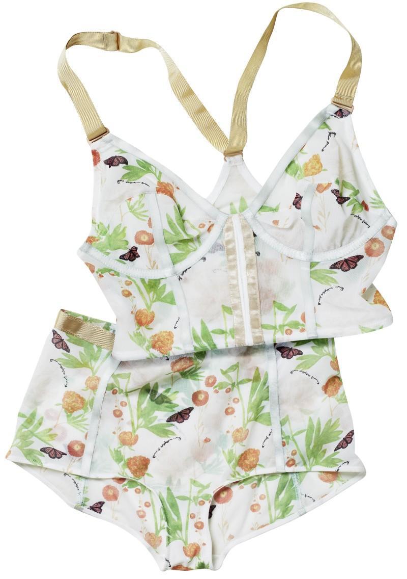 biały biustonosz H&M we wzory - kolekcja wiosenno/letnia
