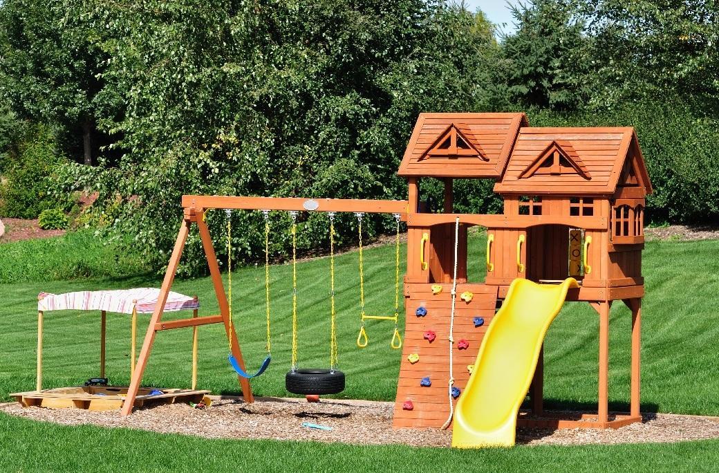 Huśtawka ogrodowa drewniana dla dzieci ze zjeżdżalnią