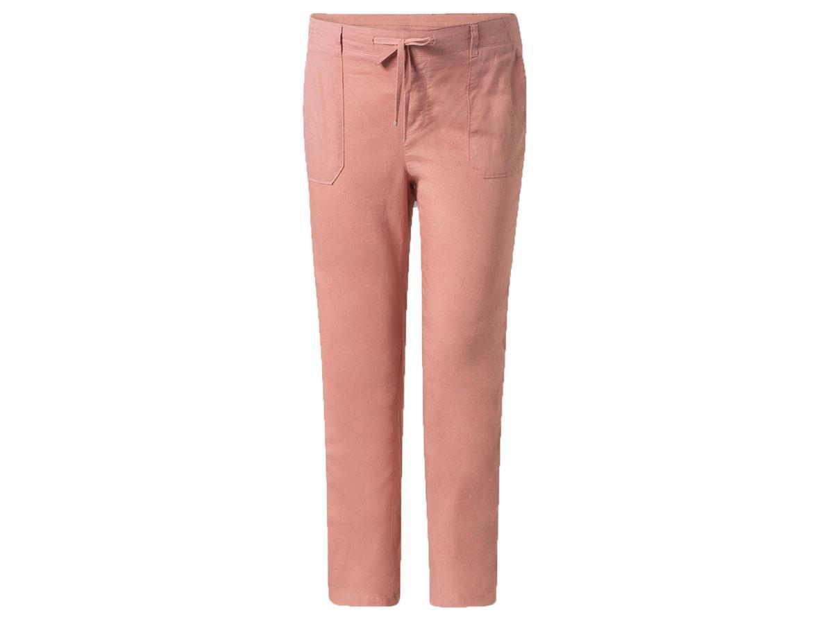 Różowe lniane spodnie C&A