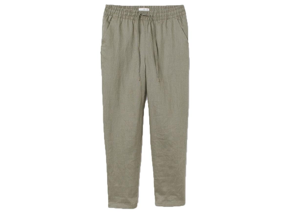 Lniane spodnie typu joggers H&M