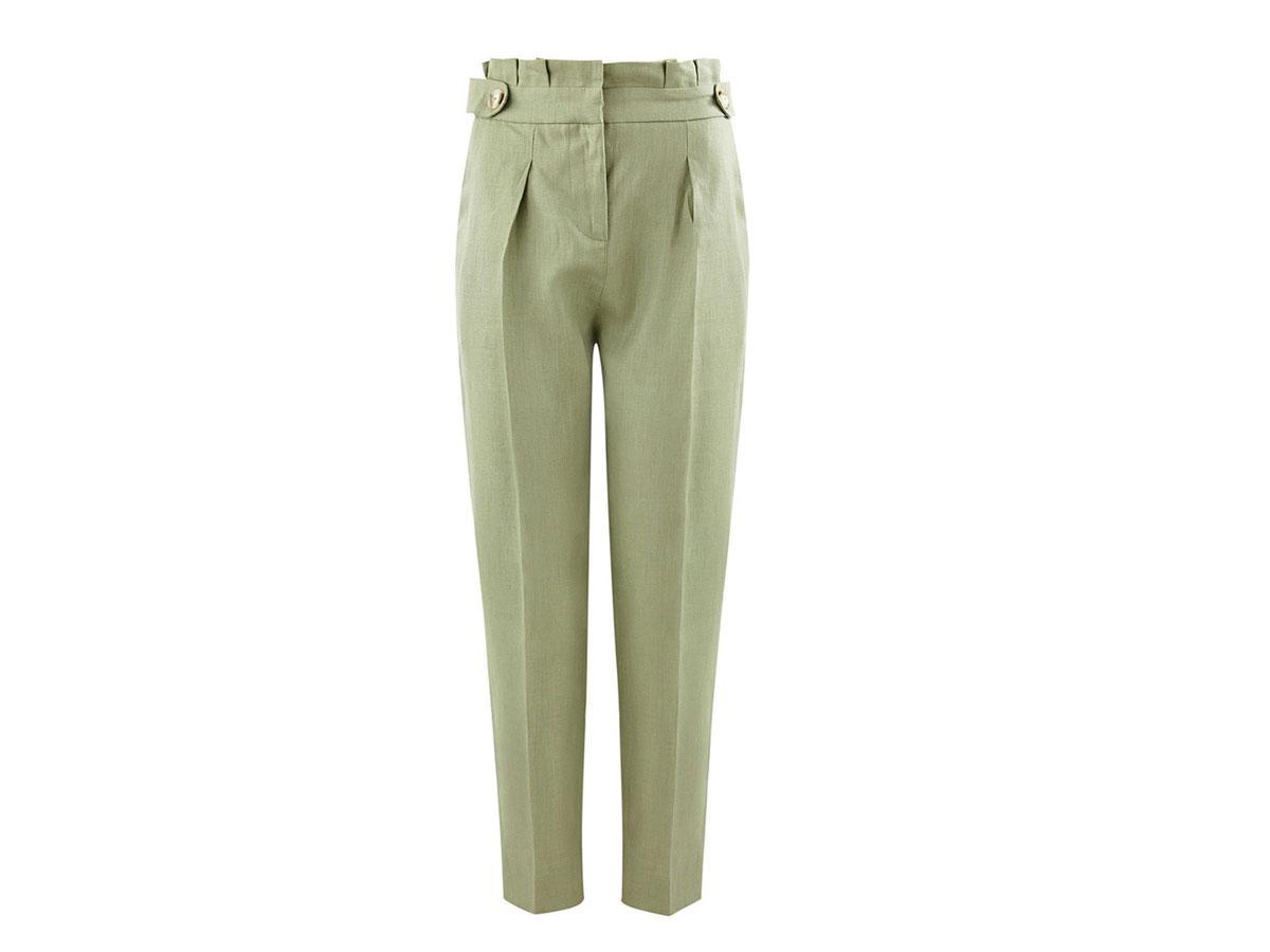 Lniane spodnie na kant Promod