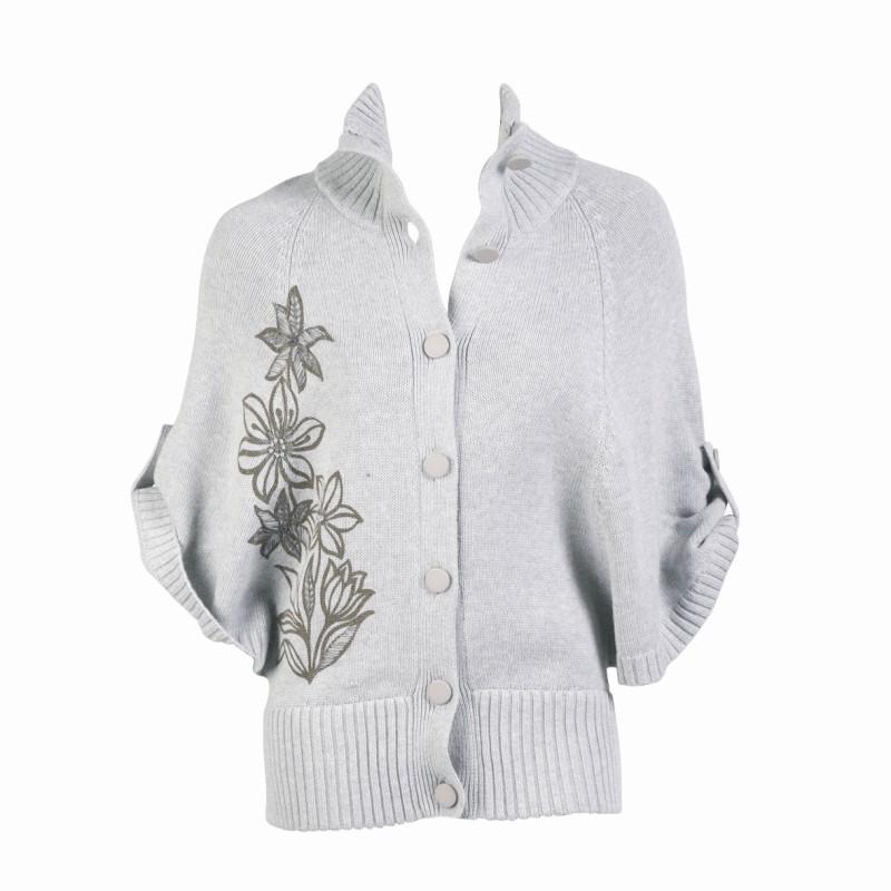 szary sweter Jackpot z kwiatem rozpinany - z kolekcji jesień-zima