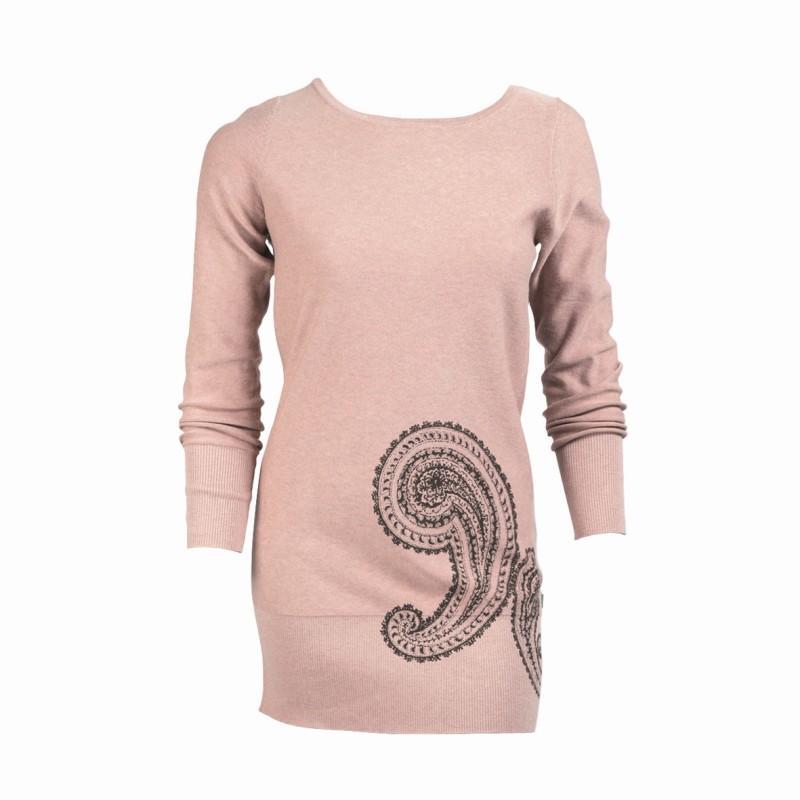 różowy sweter Jackpot długi - z kolekcji jesień-zima