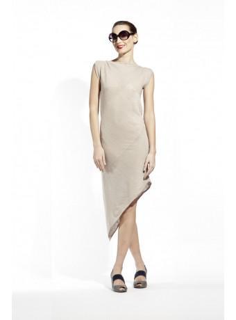 Asymetryczna beżowa sukienka / tunika wykonana z naturalnego lekkiego lnu, 299 zł