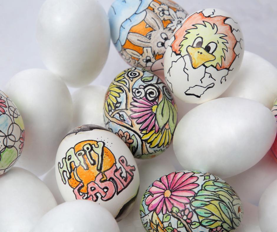 Jak pomalować jajka ze styropianu- flamastry
