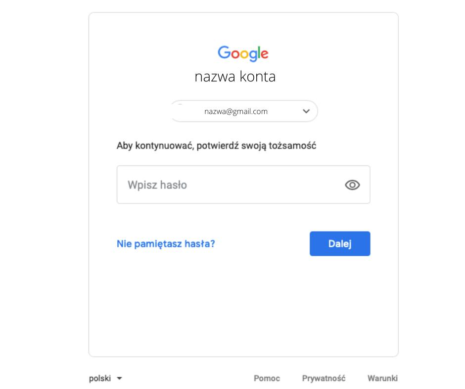 Jak usunąć konto Google - screen