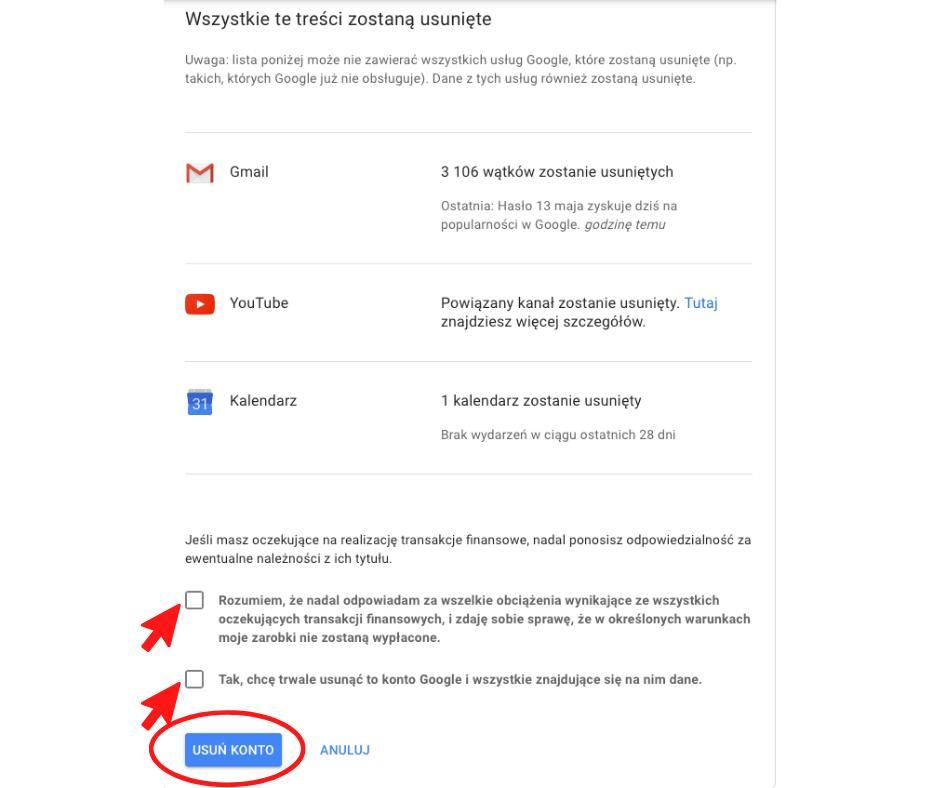 Usuwanie konta Google - pobieranie danych przed usunięciem