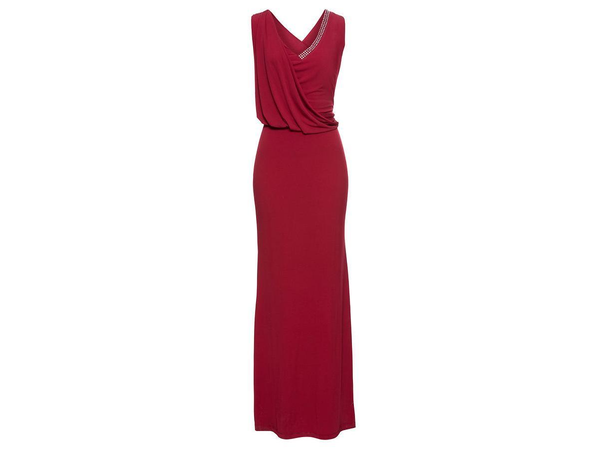 Bordowa sukienka maksi bonprix, cena