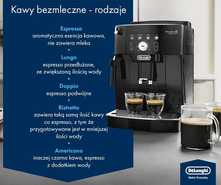 Kawy bezmleczne – rodzaje - infografika