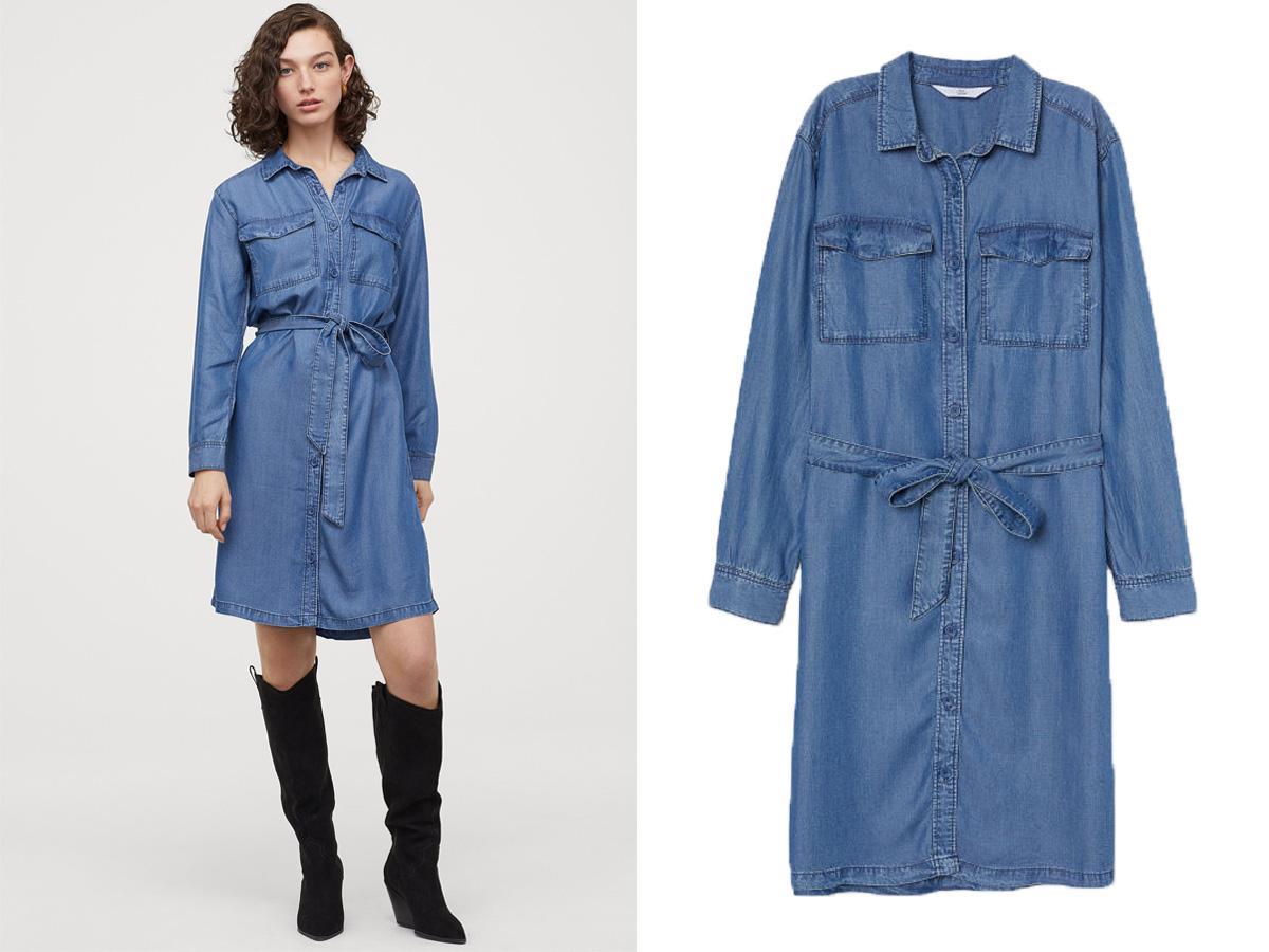 Jeansowa sukienka koszulowa z H&M