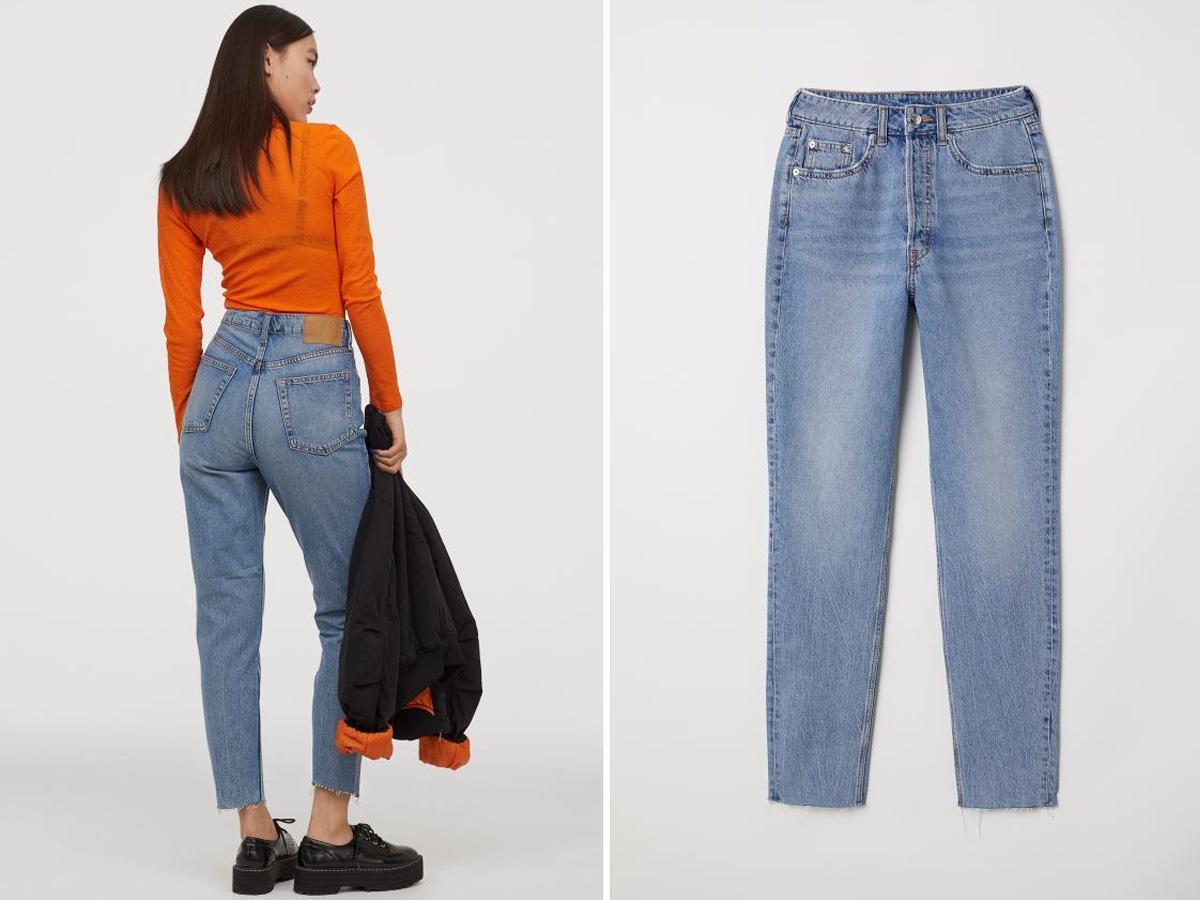 jeansy z wysokim stanem H&M