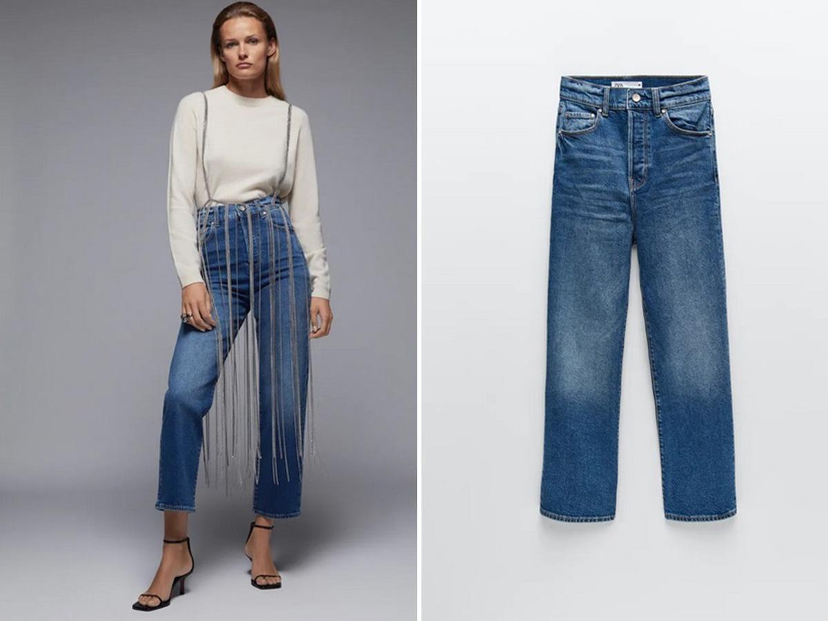 jeansy z wysokim stanem Zara