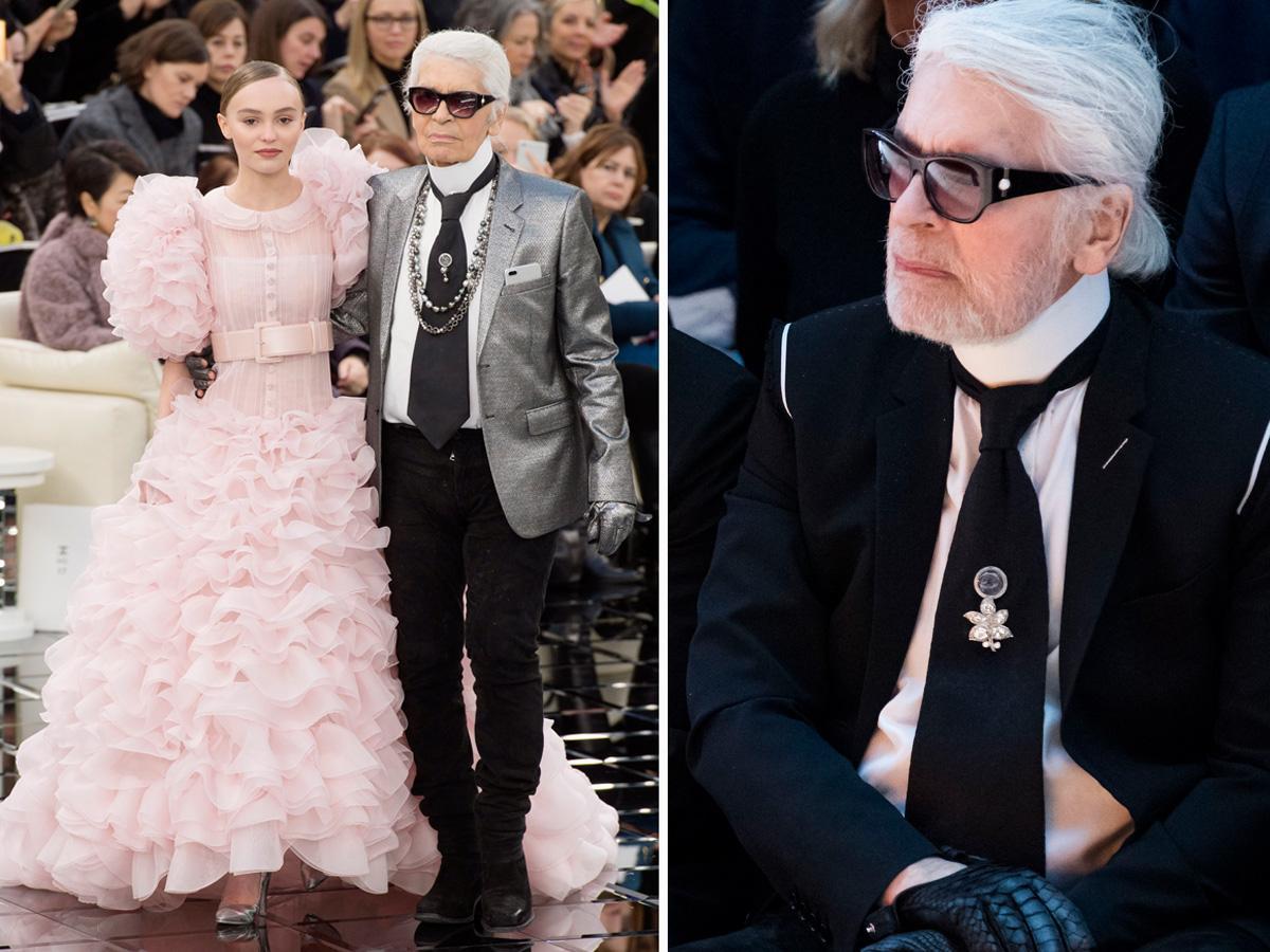 Karl Lagerfeld na pokazie mody