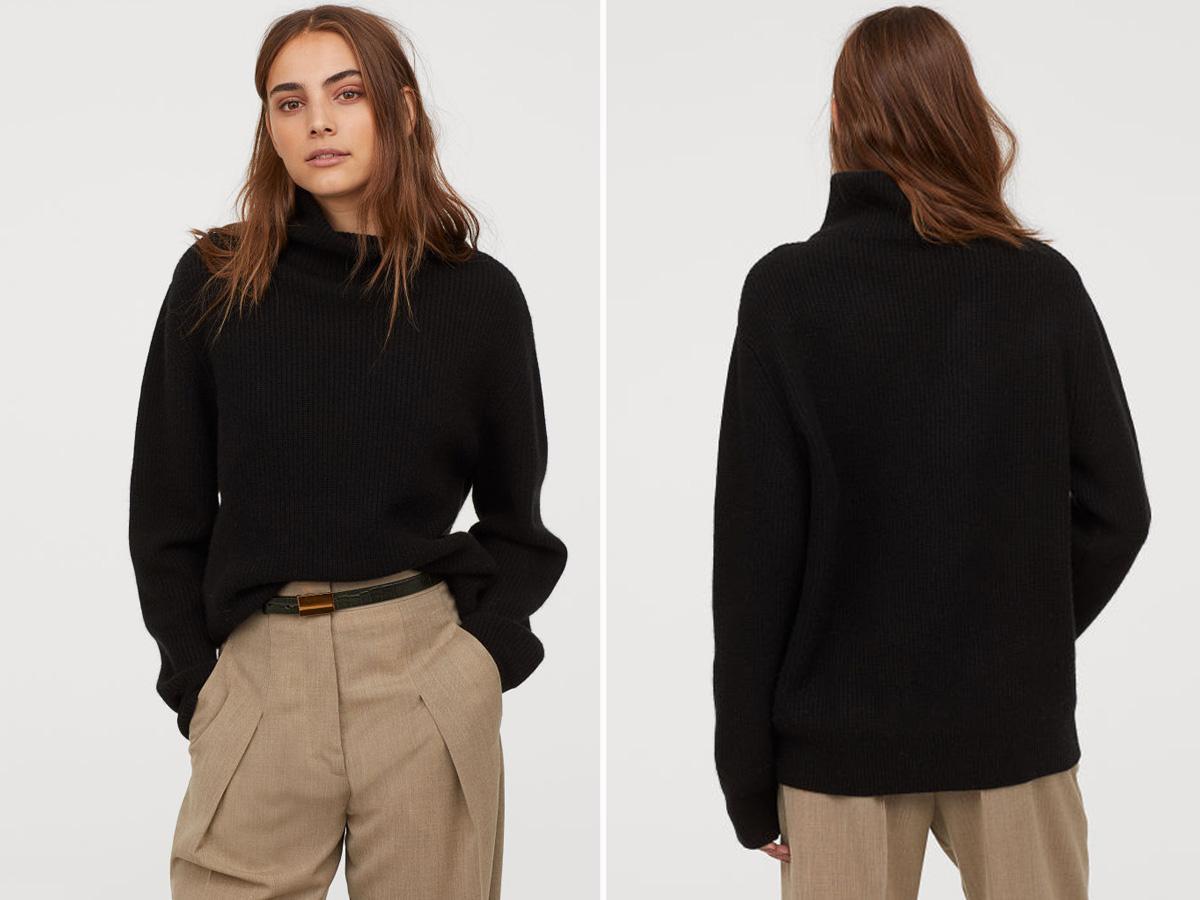 Czarny sweter z kaszmirem H&M
