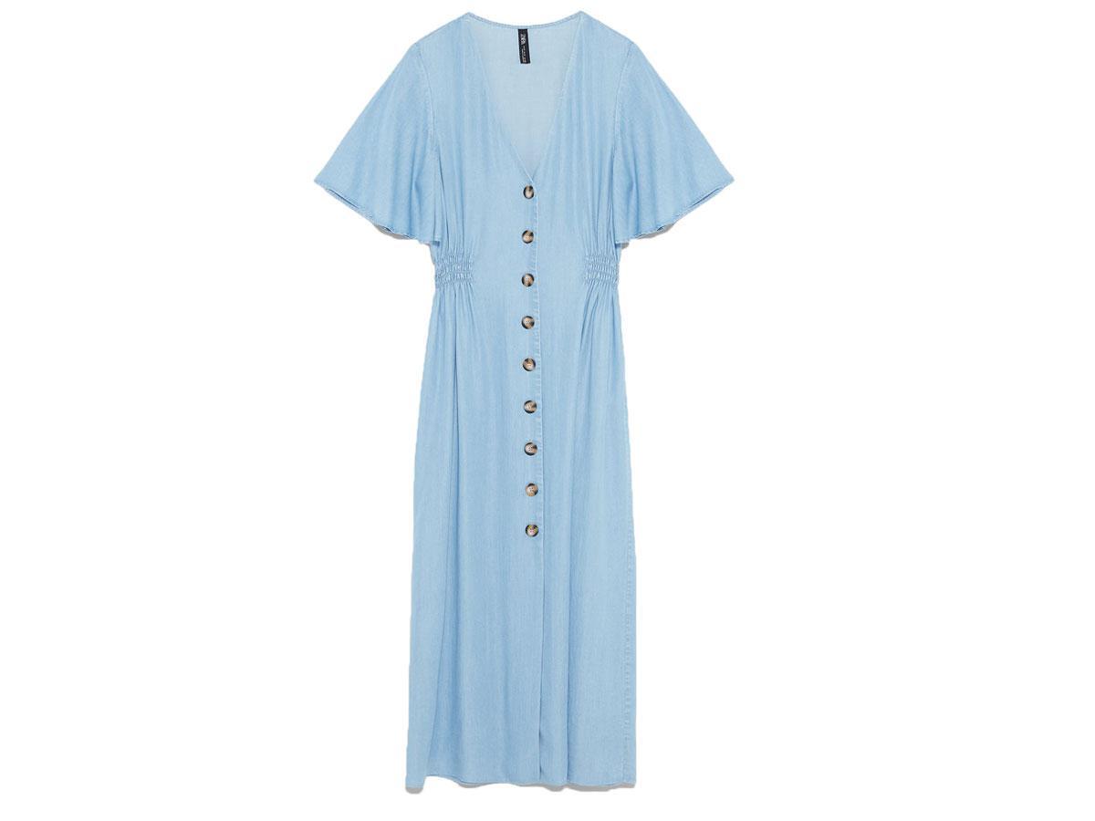Niebieska sukienka z guzikami Zara
